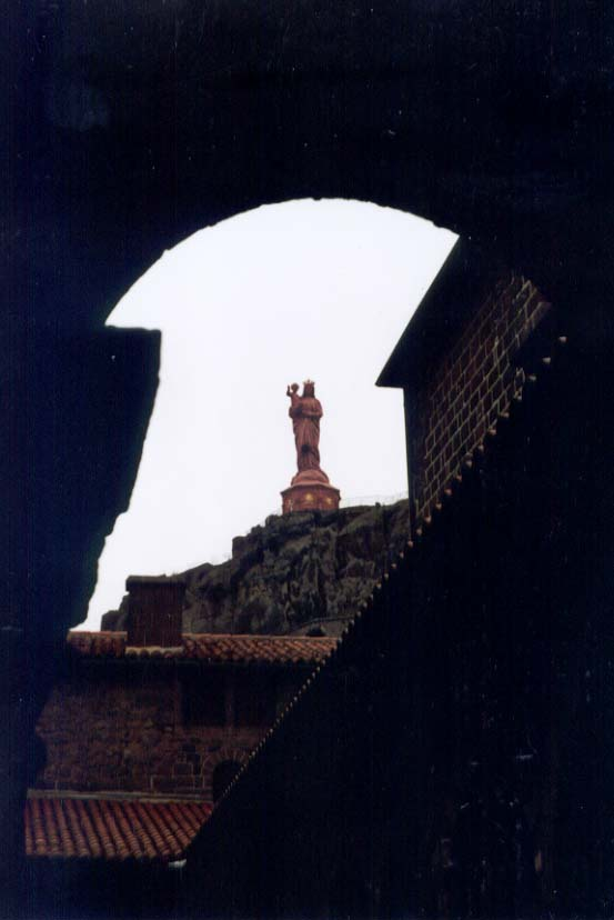 Notre-Dame-de-France, the huge golden statue atop Le Puy's volcano cone, and made from 213 cannons from the Crimean War