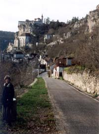 Susan on the road to the famous pilgrimage center of Rocamadour